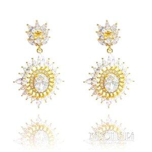 Brinco Shine Festa Cristal Translúcido Ouro Amarelo 18K