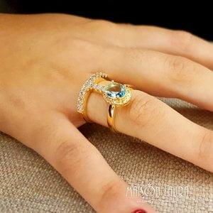 Anel Miss Duplo com Cristal cor Topázio Azul Ouro Amarelo 18K