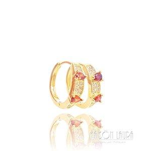Brinco Argola Tear com Cristal Cor Rubi Ouro Amarelo 18K