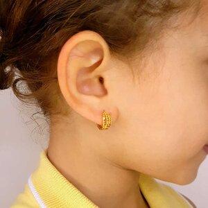Brinco Infantil Chloe com Zircônia Cor Golden Shadow Ouro Amarelo 18K