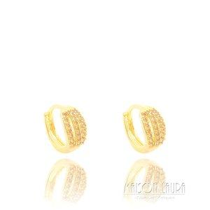 Brinco Argola Chloe com Zircônia Champagne Ouro Amarelo 18K