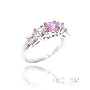 Anel Roseta Cristal cor Topázio Rosa Imperial Ouro Branco