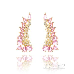 Brinco Tracy Ear Cuff Cristal Cor Turmalina Rosa Ouro Amarelo 18K