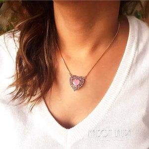 Colar Pretty Heart com Cristal Rose Ouro Amarelo 18K