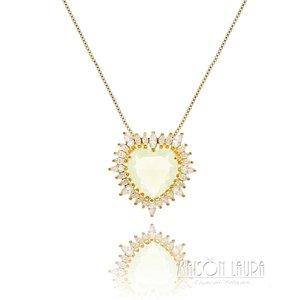 Colar Big Heart Cristal cor White Banhando em Ouro Amarelo 18K