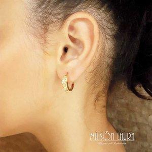 Brinco Argola Tear com Cristal Translúcido Ouro Amarelo 18K