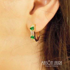 Brinco Argola Tear com Cristal Cor Esmeralda Ouro Amarelo 18K