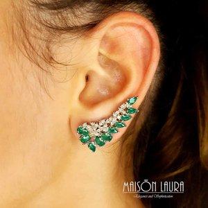 Brinco Tracy Ear Cuff Cristal Cor Turmalina Verde em Ouro Amarelo 18K