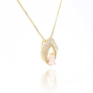 Colar Gota Dupla com Cristal Rose Ouro Amarelo 18K