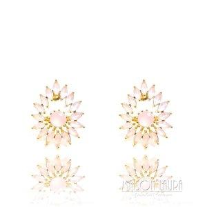 Brinco Cadente com Cristal Rose Ouro Amarelo 18K