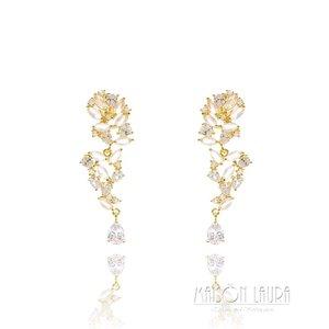 Brinco Lavi Festa Cristal Rose e Zircônias Ouro Amarelo 18K