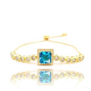 Pulseira Agatha com Cristal Cor Topázio Azul Ouro Amarelo 18K
