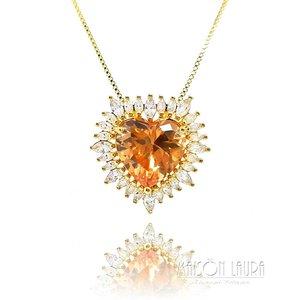 Colar Big Heart Cristal Cor Golden Shadow Ouro Amarelo 18K