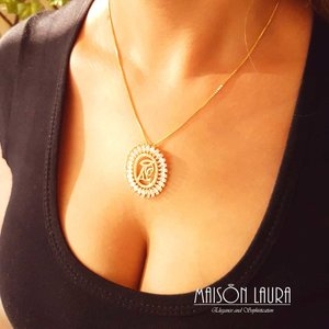 Colar Coração de Maria com Zircônias Ouro Amarelo 18K