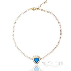 Colar Choker Coração com Cristal Cor Classic Blue Ouro Amarelo 18K