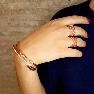 Bracelete Almodova com Cravejamento de Zircônias Ouro Rose