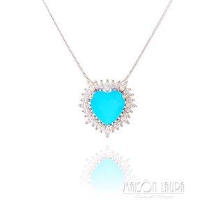 Colar Big Heart Cristal Cor Acqua Marinha com Zircônias Ouro Branco