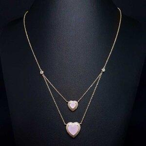Colar Duplo Corações Cristal Rose Ouro Amarelo 18K