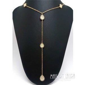 Colar Gravatinha Kwan com Cristal Champagne Ouro Amarelo 18K