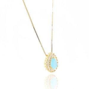 Colar Tibet com Cristal Mint Alabaster Ouro Amarelo 18K