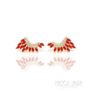 Brinco Ear Cuff Fly Cristal cor Rubi Ouro Amarelo 18K