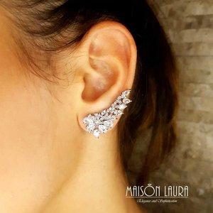 Brinco Tracy Ear Cuff Cristal Cor White Ouro Branco