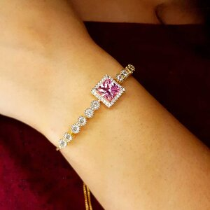 Pulseira Agatha com Cristal Cor Topázio Rosa Imperial Ouro Amarelo 18K