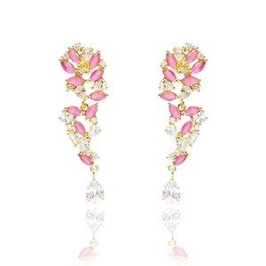 Brinco Lavi Festa Cristal Rose Indiano Ouro Amarelo 18K