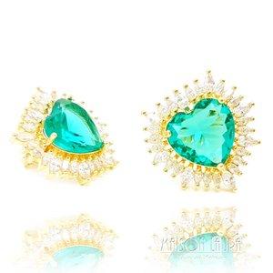 Brinco Big Heart Cristal Cor Turmalina Verde em Ouro Amarelo 18K