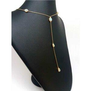 Colar Gravatinha Long Tie Gota com Cristais Cor Erinite Ouro Amarelo 18K