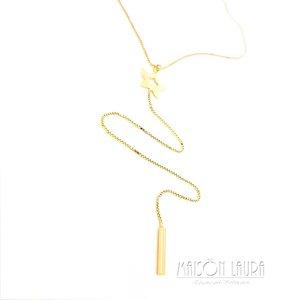 Colar Gravatinha Estrela Ouro Amarelo 18K