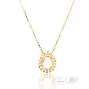 Colar Tibet com Cristal Rose Ouro Amarelo 18K