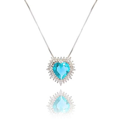 Colar Big Heart Cristal Light Blue com Zircônias Ouro Branco