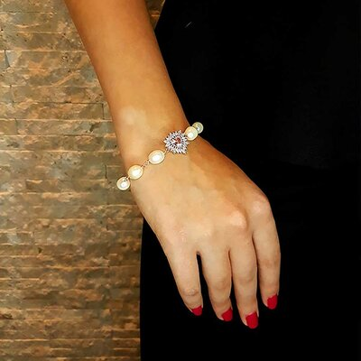 Pulseira Scarlate com Cristal Topázio Rosa Imperial e Ouro Branco