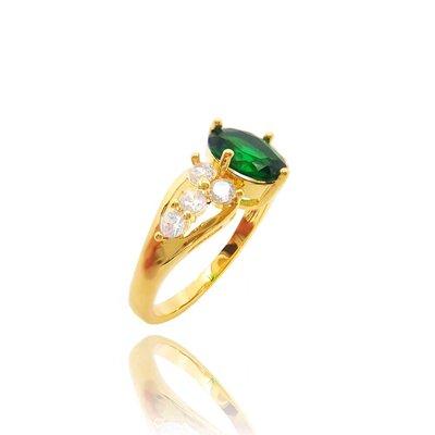 Anel The Princess com Cristal cor Esmeralda Ouro Amarelo 18K