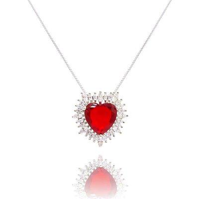 Colar Big Heart Cristal Cor Rubi Ouro Branco