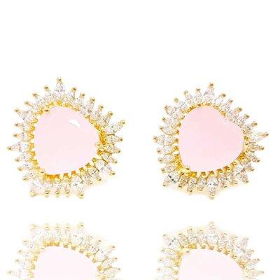 Brinco Big Heart Cristal Rose Ouro Amarelo 18K