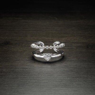 Anel Circular Duplo Cristal Coração Ouro Branco