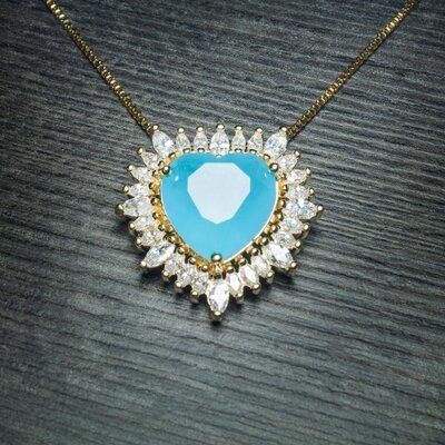 Colar Big Heart Cristal Cor Acqua Marinha Ouro Amarelo 18K