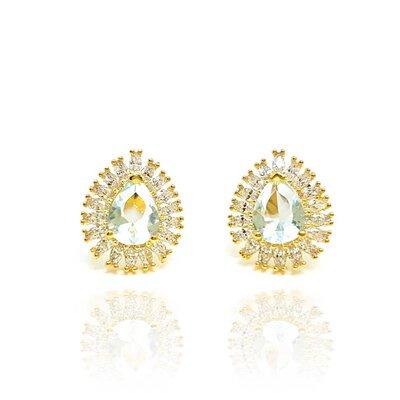 Brinco Tibet com Cristal Erinite Ouro Amarelo 18K