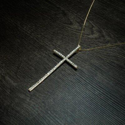 Colar Crucifixo Fé Cravejado Ouro Amarelo 18K