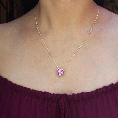 Colar Coração Cristal Topázio Rosa Imperial Ouro Amarelo 18K