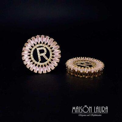 Colar Letra Inicial Elegance Sol com Cristal Rose e Zircônias Ouro Amarelo 18K
