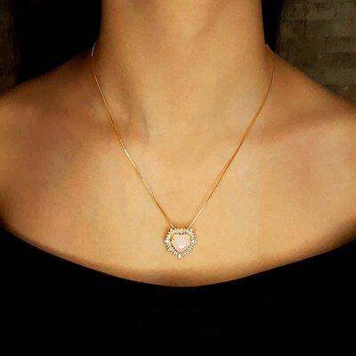 Colar Big Heart Cristal Rose Ouro Amarelo 18K