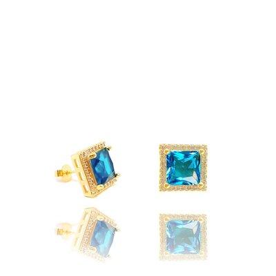 Brinco Agatha com Cristal Cor Topázio Azul Ouro Amarelo 18K