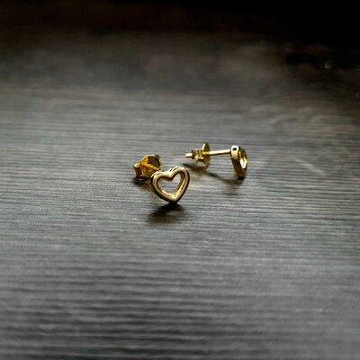 Brinco Infantil Touch My Heart Mini Ouro Amarelo 18K