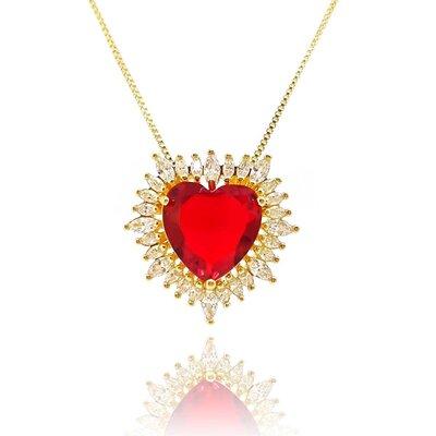 Colar Big Heart Cristal Cor Rubi Ouro Amarelo 18K