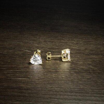 Brinco Coração Cristal Ouro Amarelo 18K