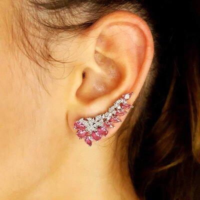 Brinco Tracy Ear Cuff Cristal Cor Turmalina Rosa Ouro Branco