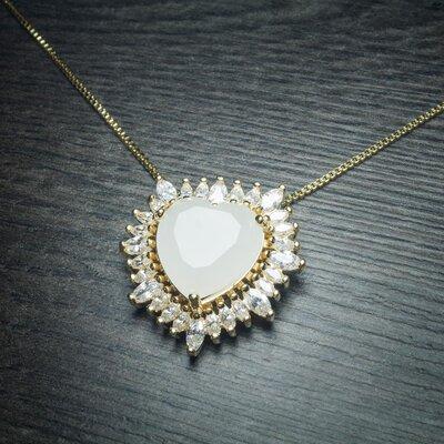 Colar Big Heart Cristal cor White no Ouro Amarelo 18K